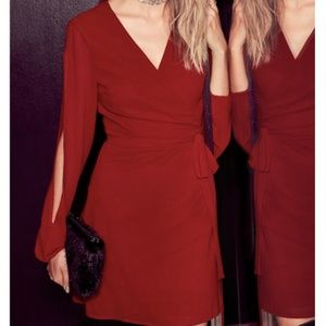 NWT Lulu's Told You So Red Wine Wrap Dress